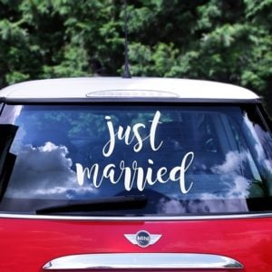 Bilskylt Brollop -Just Married-